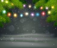 Weihnachtshintergrund mit Baum und Licht Lizenzfreies Stockbild