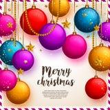Weihnachtshintergrund mit bunten Bällen, Weihnachtsflitter Hängende Perlen und Sterne Auch im corel abgehobenen Betrag Stockbild