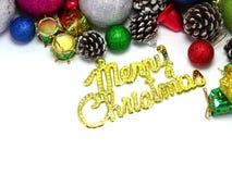 Weihnachtshintergrund mit bunter Dekoration der Verzierung Lizenzfreie Stockfotos
