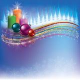 Weihnachtshintergrund mit Dekorationen und Kerzen Lizenzfreie Stockfotografie