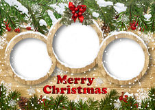 Weihnachtshintergrund mit dem Feld- und Tannenzweig Stockfotografie