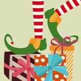 Weihnachtshintergrund mit den Elfenbeinen und -geschenken lizenzfreie abbildung