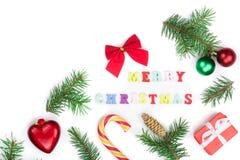 Weihnachtshintergrund mit der Aufschrift der frohen Weihnachten lokalisiert auf weißem Hintergrund mit Kopienraum für Ihren Text Stockbilder