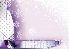 Weihnachtshintergrund mit der Verpackung der Dekoration Stockfotografie