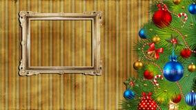 Weihnachtshintergrund mit einem Weinlesefeld. Stockfotografie