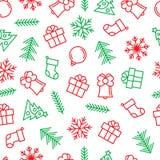 Weihnachtshintergrund mit Entwurfselementen in den grünen und roten Farben Stockfoto