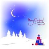 Weihnachtshintergrund mit Farbengeschenk Lizenzfreie Stockbilder