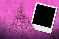 Weihnachtshintergrund mit Feld für sofortiges Foto Lizenzfreie Stockfotos
