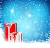 Weihnachtshintergrund mit Geschenk Stockfotografie
