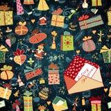 Weihnachtshintergrund mit Geschenkboxen Stockfotografie