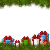 Weihnachtshintergrund mit Geschenkkästen Stockfotos