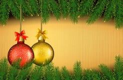 Weihnachtshintergrund mit Geschenkkugeln Stockfoto