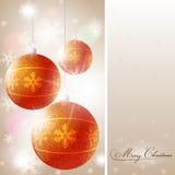 Weihnachtshintergrund mit glänzenden Kugeln lizenzfreie stockbilder