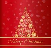 Weihnachtshintergrund mit Goldbaum Lizenzfreie Stockfotos