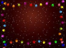 Weihnachtshintergrund mit hellen Girlanden Lizenzfreie Stockfotos