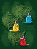 Weihnachtshintergrund mit Kätzchenverzierungen Stockfotos