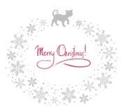 Weihnachtshintergrund mit Katze Stockfoto