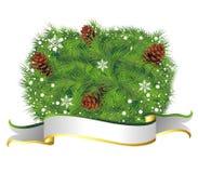 Weihnachtshintergrund mit Kieferkegel Lizenzfreies Stockfoto