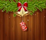 Weihnachtshintergrund mit Kugel Stockfotografie