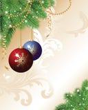 Weihnachtshintergrund mit Kugeln Stockbilder