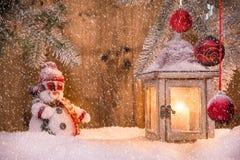 Weihnachtshintergrund mit Laterne Stockfotos