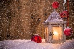 Weihnachtshintergrund mit Laterne Lizenzfreie Stockbilder