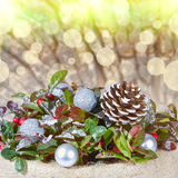 Weihnachtshintergrund mit mit Lichtern Lizenzfreie Stockfotos