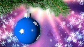 Weihnachtshintergrund mit netter Wiedergabe des Balls 3D stockfoto