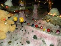 Weihnachtshintergrund mit Plüschspielwaren Stockbild