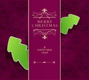 Weihnachtshintergrund mit purpurrotem Band Stockfotografie