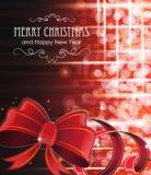 Weihnachtshintergrund mit rotem Bogen Lizenzfreie Stockfotos