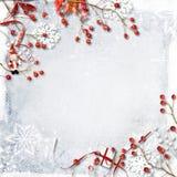 Weihnachtshintergrund mit roten Beeren, Schneeflocken und Dekoration Stockbilder