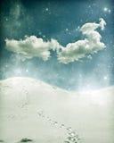 Weihnachtshintergrund mit schneebedecktem Weg Stockfotos