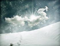 Weihnachtshintergrund mit schneebedecktem Weg Lizenzfreies Stockfoto