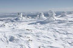 Weihnachtshintergrund mit schneebedeckten Bäumen Lizenzfreies Stockfoto