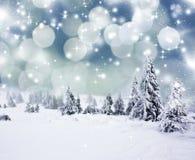 Weihnachtshintergrund mit schneebedeckten Tannenbäumen Lizenzfreies Stockfoto