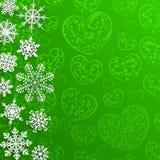 Weihnachtshintergrund mit Schneeflocken auf Hintergrund von Herzen Stockfotos