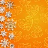 Weihnachtshintergrund mit Schneeflocken auf Hintergrund von Herzen Lizenzfreie Stockfotos