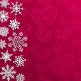 Weihnachtshintergrund mit Schneeflocken auf Hintergrund von Herzen Stockbilder