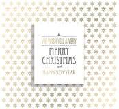 Weihnachtshintergrund mit Schneeflocken und Aufkleber der frohen Weihnachten Stockfotos