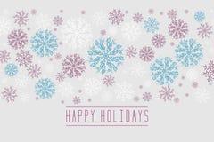 Weihnachtshintergrund mit Schneeflocken und Platz für Text Winter weiß, minimale Dekoration der blauen, roten Schneeflocken auf w lizenzfreie abbildung