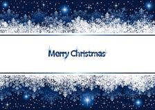Weihnachtshintergrund mit Schneeflocken und Sternen Lizenzfreie Stockfotos