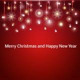 Weihnachtshintergrund mit Schneeflocken und Weihnachten vektor abbildung