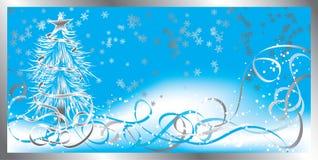 Weihnachtshintergrund mit Schneeflocken, Vektor Lizenzfreies Stockfoto