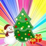 Weihnachtshintergrund mit Schneemann, Baum und Geschenken Neues Jahr-Vektorillustration Lizenzfreies Stockfoto