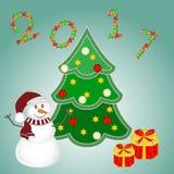 Weihnachtshintergrund mit Schneemann, Baum und Geschenken Neues Jahr-Vektorillustration Stockbild