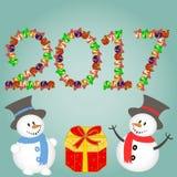 Weihnachtshintergrund mit Schneemann und Geschenken Neues Jahr-Vektorillustration Stockfotografie