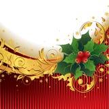 Weihnachtshintergrund mit Stechpalme Lizenzfreies Stockbild