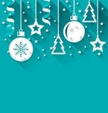 Weihnachtshintergrund mit Tanne, Bälle, Sterne, Ausläufer, modisches flaches St. Lizenzfreie Stockbilder