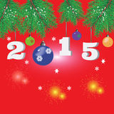 Weihnachtshintergrund mit Tannenzweigen, Feuerwerke KEIN Text Lizenzfreie Stockbilder